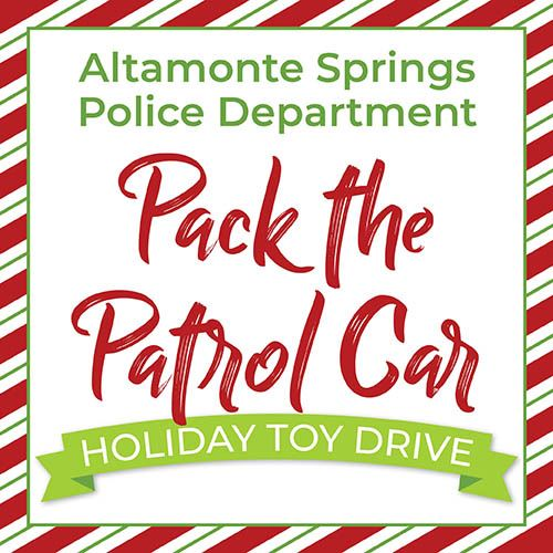 Pack the Patrol Car Holiday Toy Drive Graphic