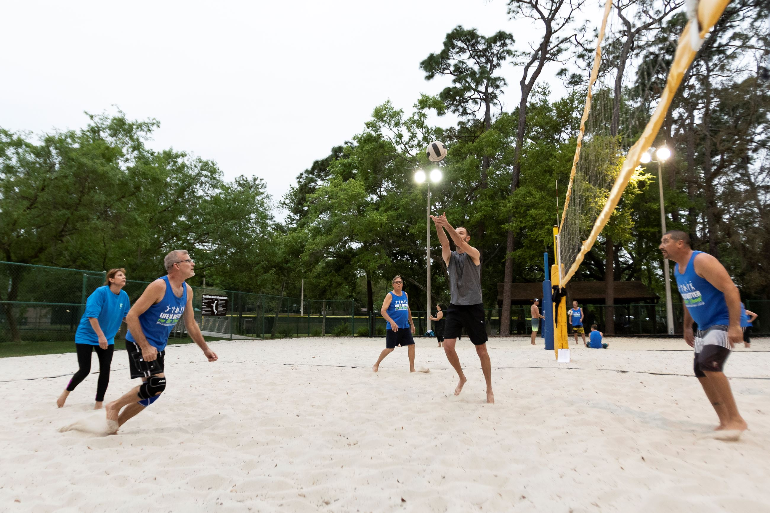 Adults Playing Volleyball